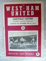 1962 WEST HAM UNITED v SHEFFIELD UNITED, 29th Sept (League Division One)