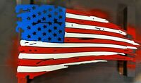 Tattered American Flag USA Patriotic Metal Wall Hanging Art Home Decor