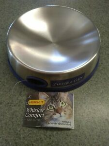 Ruffin' It 19010 Whisker Comfort Feeding Cat Bowl, Stainless Steel