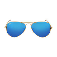 Ray-Ban Aviator Gold Metal Frame Blue Mirror Non-Polarized Crystal Lens 55mm