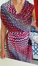 Josie Natori Belted Sheath Cowl Caped Sleeve Pink Purple Black White Pattern L
