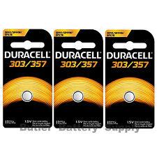 3 x 303/357 Duracell Silver Oxide Batteries (AG13, SB-A9, SR1154, SR44SW, WS14)