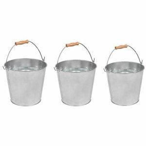 10/12L Galvanised Metal Bucket Strong Steel Wooden Handle Water Coal Fire Garden