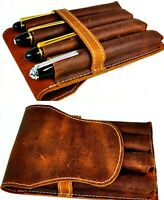 Premium leather Pen pouch case for 4 jumbo pens -  distressed  rustic leather