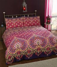 INDIAN HENNA-STYLE RED PURPLE COTTON BLEND DOUBLE DUVET COVER
