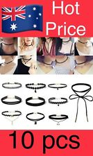 10Pcs/Set Black Gothic Punk Velvet Tattoo Lace Choker Collar Pendant Necklace