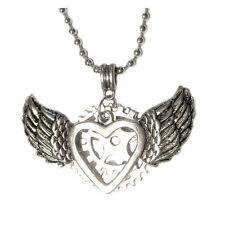 """Steampunk Mechanical Heart w/ Angel Wings Silver Pendant 24"""" Necklace Art"""