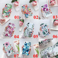 For iPhone XS Max XR 6s 7 8 Plus Flower Pattern Stand Holder Soft TPU Case Cover