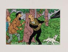 Carte postale Tintin Carte Q8, Tintin, Capitaine Haddock et Nestor sous la pluie
