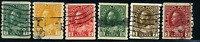 Canada #125-130 used VF 1912-1924 King George V Admiral Coil Set Perf 8 Vertical