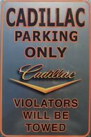 PLAQUE METAL vintage USA GM - CADILLAC PARKING - 44 X 30 CM