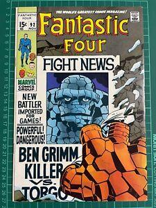 Fantastic Four #92 Thing! Stan Lee Jack Kirby! High Grade/Near Mint!