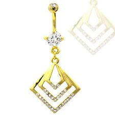 GOLD-PLATED THREE SQUARE DANGLE BELLY BUTTON RING NAVEL PIERCING - 14G