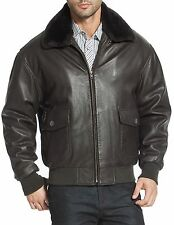 Mens Airborne Navy G1 Genuine Fur Collar Flight Bomber Leather Jacket All Sizes