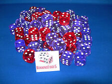NEW 12 PURPLE AND RED ACRYLIC DICE 16MM 2 COLORS 6 OF EACH COLOR