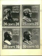 1938 Press Photo United States Postage Stamps Commemorating Former Presidents