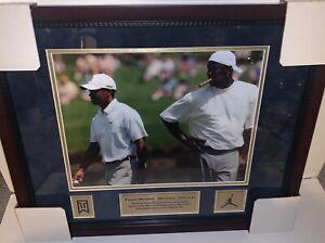 Michael Jordan & Tiger Woods Photo Custom Framed to 16x20 w/ Plaque And Logos