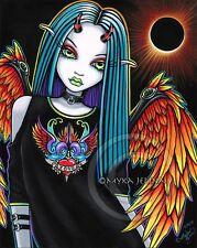 Gothic Rainbow Angel Psychedelic Horned Solar Fae Ltd Signed CANVAS Embellished