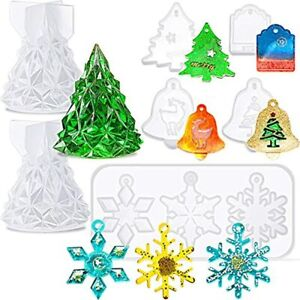 7 Pieces Christmas Resin Silicone Molds 3D Tree Epoxy Snowflake Casting Theme