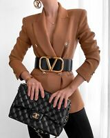 ZARA NEW WOMAN TAILORED DOUBLE-BREASTED BLAZER JACKET CAMEL SIZE XL