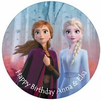 Disney Frozen 2 Elsa Anna Edible Birthday Cake Topper With Personalised Message