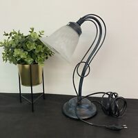 Lamparas Schuller Distressed Metal Table Lamp Arched Arm Glass Shade  H39xW25cm