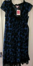GLAMOROSA BLUE & BLACK ANIMAL PRINT CHIFFON DRESS, UK-14