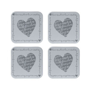Set of 4 Home Is Where Love Resides Vintage Heart Cork Cup Place Mats Coasters