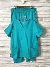 New listing Happy Scrubs 2 Piece Set Green Pants Size Xlp Petite V Neck Top Size Xl