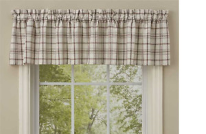 """Park Designs ORCHARD Plaid Unlined Window Valance 72""""x14"""" Ivory, Dark Red, Green"""