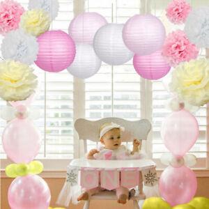 10er Set Seidenpapier Pompoms Papier Lampions weiß rosa Hochzeit Party Deko 25cm