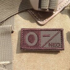 2  Urban Military Blood Type O- Negative Tactical Army Embroidered PATCH