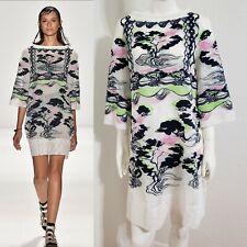 Vivienne Tam Dress Embroidered Sheer White Mesh Net Summer Resort Sz M Cover Up