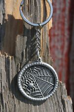 Hastings Pewter Lead Free Pewter Spider Web Keychain Gift gothic key chain NEW
