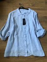 M&S Curve Ladies Blouse blue Pin Striped  Pure Linen Shirt size 30 Eur 58 BNWT