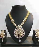 Bollywood Gold Plated CZ Pearl Ethnic Indian Fashion Jewelry Necklace Set