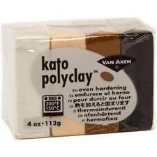 KATO POLYMER CLAY Polyclay Oven Bake 4 pc Set NEUTRALS White Black Brown Beige