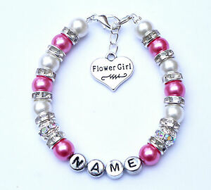 Personalised Flower Girl Charm Bracelet Free Card & Bag 12 colours - many charms