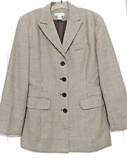 Ann Taylor Brown Wool Tweed Blazer Jacket Womens 6