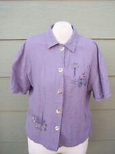 Sweet Jessie Womens Shirt Plus Sz 2X 48B Lavender Purple Linen Rayon Bicycle