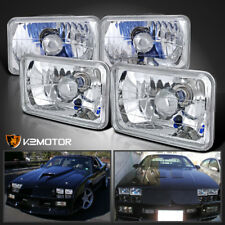 4PC 4X6 Square Diamond Cut Crystal Halogen Headlights Head Lamps w/H4 Bulbs