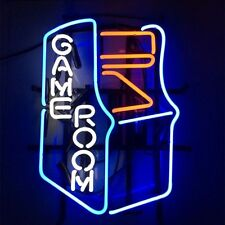 """17""""x14"""" Game Room Man Cave Decor Real Glass Neon Light Beer Bar Pub Club Sign"""
