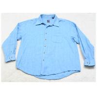 T. Harris Long Sleeve Mans Mens Cotton Blue Pocket Dress Shirt XXL 2XL Solid V11