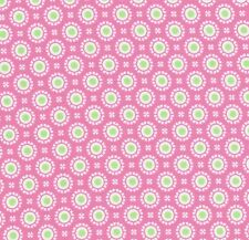 MODA Hi-De-Ho Small Retro Circles in White and Green on Pink Fabric - FQ