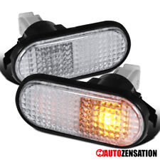 For 92 95 Honda Civic Flat Clear Fender Side Marker Lights Signal Lamps Pair