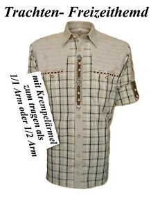 Trachtenhemd mit Krempelärmel Hemd aufwendig verarbeitet kariert Oktoberfest   M