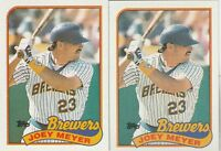 FREE SHIPPING-MINT-1989 (BREWERS) Topps  #136 Joey Meyer-2 CARDS