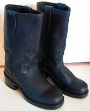Vintage DURANGO Black Leather Engineer Boots Size 7 D Goodyear Welt Made in USA