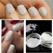 0.6mm AB Crystal Glass Caviar Beads Tiny 3D Micro Pixie Mermaid Nails Manicure
