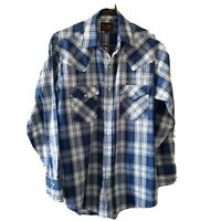 Plains Western Wear Pearl Snap Blue Plaid Long Sleeve Small